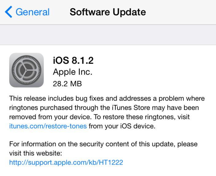 Apple lanza iOS 8.1.2 para solucionar un problema con Ringtones