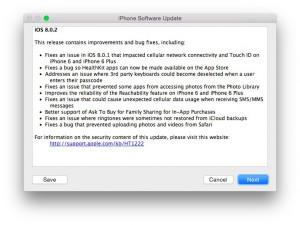 Apple lanza iOS 8.0.2, solucionando los fallos de la anterior versión