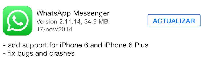 Whatsapp obtiene soporte para el iPhone 6 y 6 plus