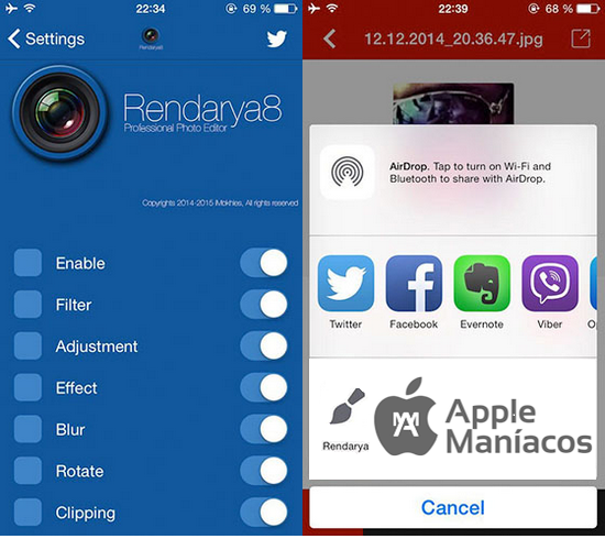 Cydia Tweak:  Rendarya8