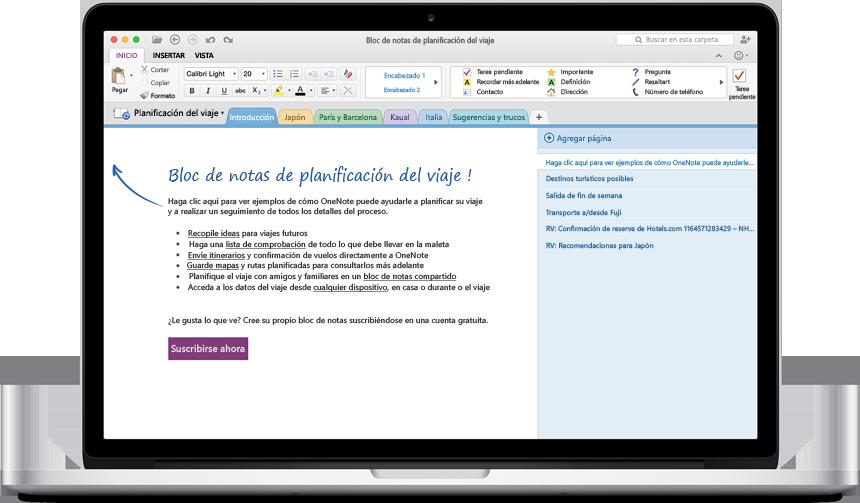 Versión preliminar de Office 2016 para Mac  OneNote