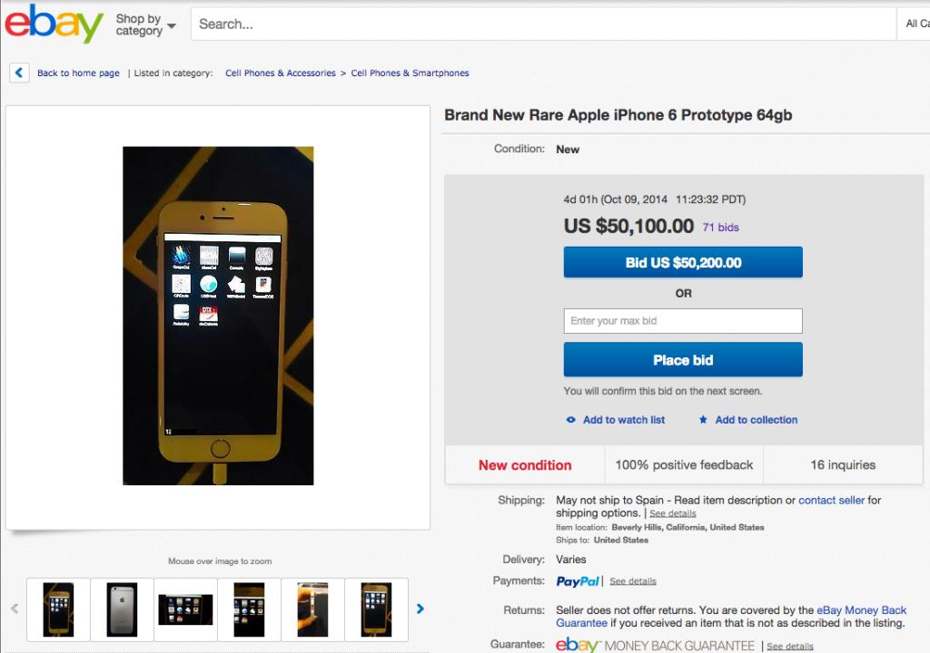 Un prototipo de iPhone 6 se encuentra a la venta en eBay
