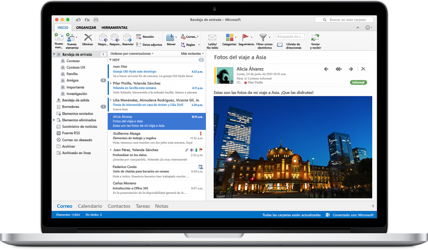Versión preliminar de Office 2016 para Mac outlook
