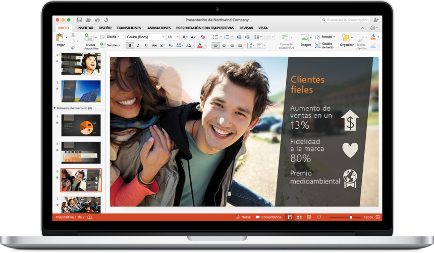 Versión preliminar de Office 2016 para Mac powerpoint