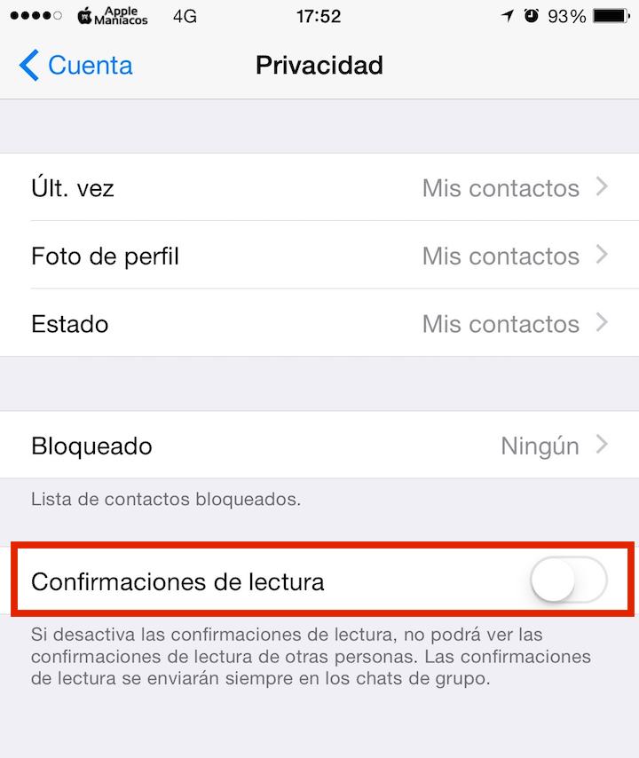 Desactivar las confirmaciones de lectura de WhatsApp