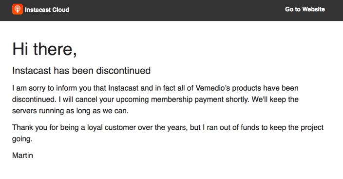 Instacast cierra, Vemedio abandona el proyecto
