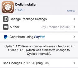 Saurik actualiza Cydia 1.1.20 con solución de errores