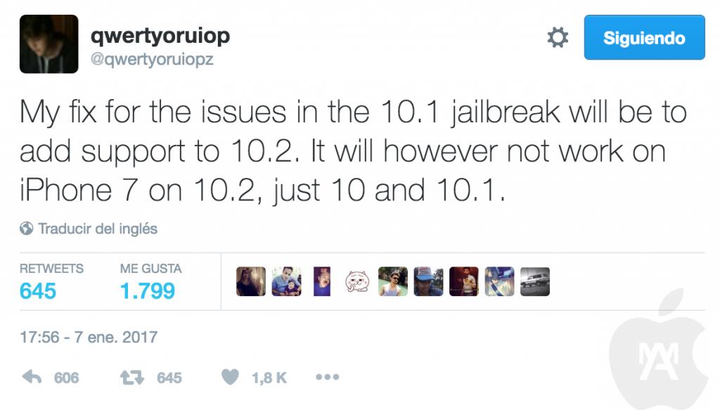 Jailbreak iOS 10.2 está llegando, pero no va a funcionar para el iPhone 7