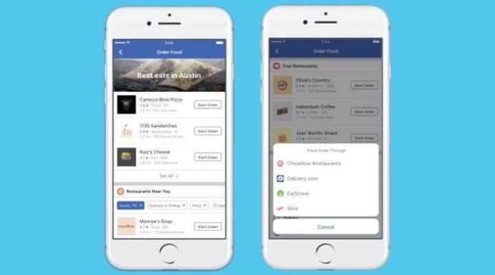 Recoger y entregar pedidos de comida por Facebook  disponible en USA