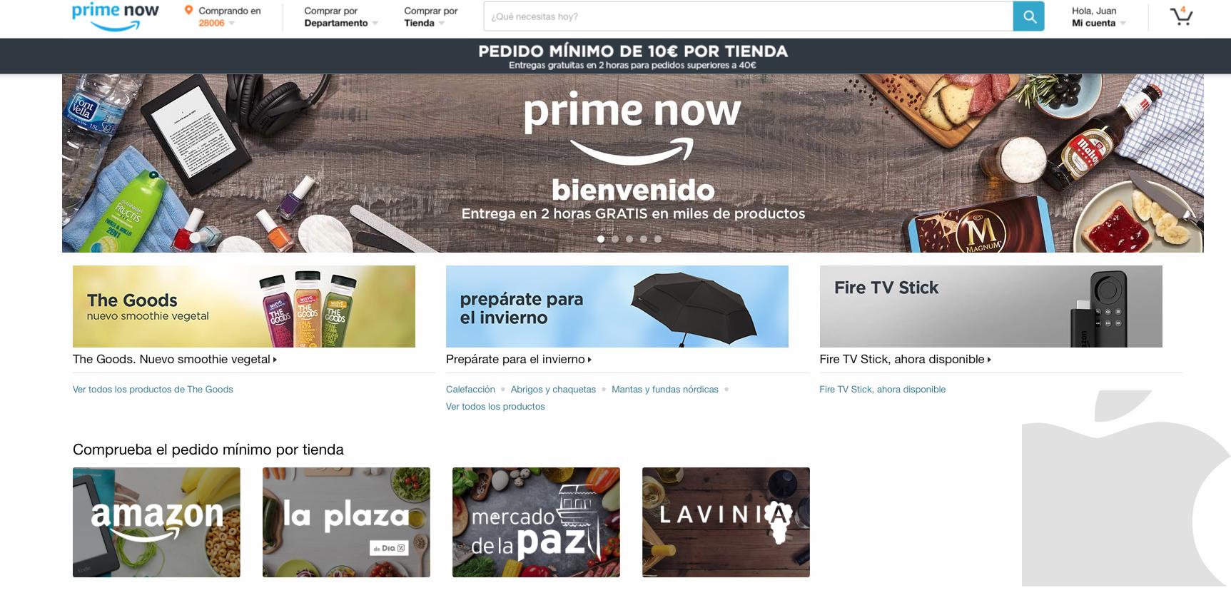 Precio Amazon Prime Now