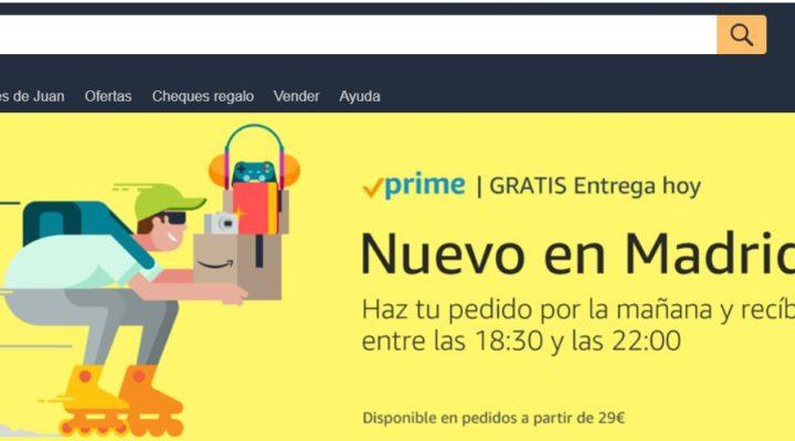 """""""Entrega hoy"""" gratis con Amazon Prime"""