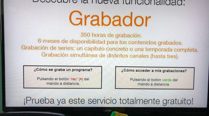 Nueva función GRABADOR en Orange TV