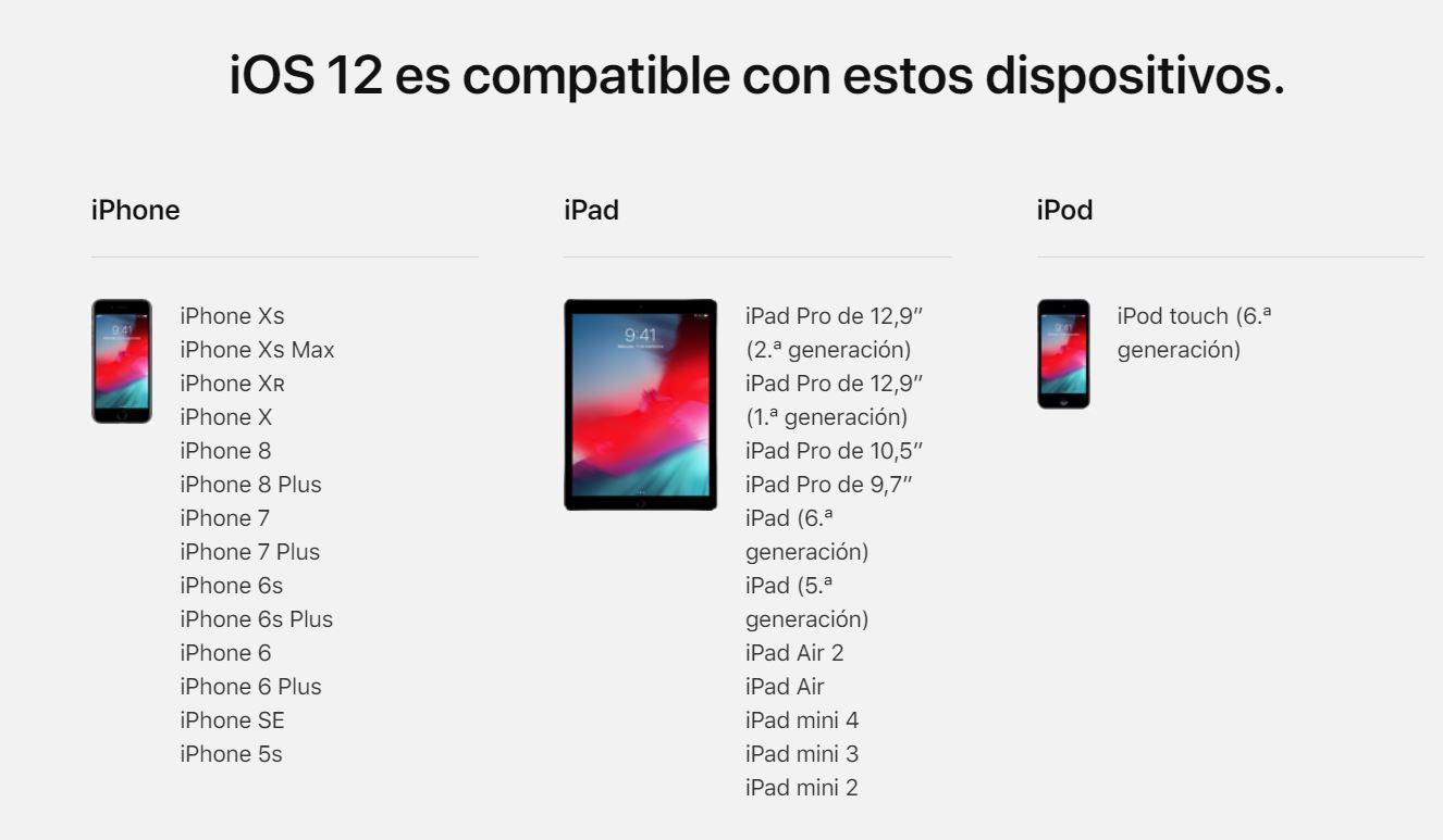 Compatibilidad iOS 12